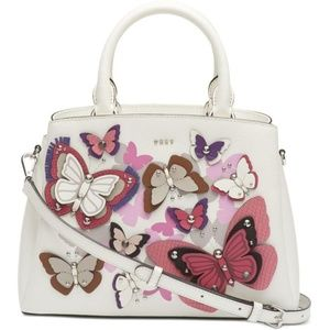 New DKNY Paige Leather All Over Butterfly Satchel